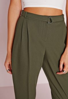Missguided - Belted High Waist Cigarette Trousers Khaki