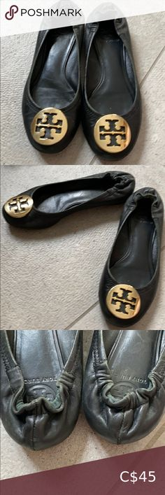 Tory Burch black Reva shoes with gold hardware Used Tory Burch black flat leather Reva shoes with gold hardware. Size 7. Leather upper rubber sole. Elastic edge in heel. Round toe. From smoke free pet free home Tory Burch Shoes Flats & Loafers
