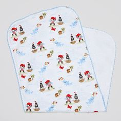 A lovely burping cloth for your baby boy by Kissy Kissy. Made from Peruvian pima cotton for softness and comfort, this burp cloth has cute colourful prints of a pirate, pirate ship and a crab. With a towelling underside which is super absorbent and perfect for everyday use. Complete the look with matching items from Kissy …