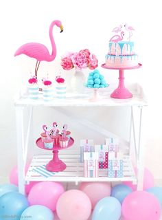 Flamingo DIY party Ideas & birthday decorations with printables! - BirdsParty.com @birdsparty