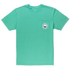 Signature Logo Tee in Heather Bermuda by The Southern Shirt Co. ($32) ❤ liked on Polyvore featuring tops, t-shirts, green top, shirt top, green tee, tee-shirt and green t shirt