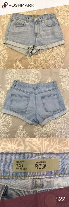 Topshop Rosa jean shorts Topshop denim Rosa cuffed shorts. Worn multiple times but still original condition, willing to negotiate on price! Topshop Shorts Jean Shorts