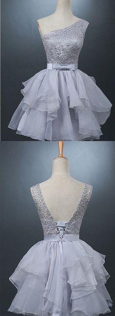 Vestidos de quince años color plata cortos