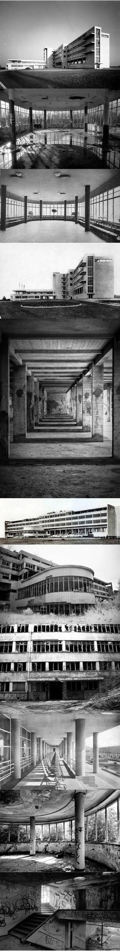 1937 Maxine Brunfaut - Sanatorium Joseph Lemaire / Tombeek Belgium / modernist / abandoned / concrete / Where other early modernist sanatoria Paimio and Zonnestraal have been restored to their former glory this one in Belgium is in a rather sad, sad state.