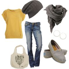 Fall casual look: military tee, jeans, slouchy beanie, scarf and toms. Very cute!
