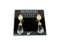 Swarovski Crystal Earrings, Crystal Drop, Chandelier Earrings, Pave Rhinestone, Gold Tone, Vintage Jewelry by zephyrvintage on Etsy