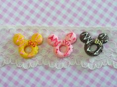 3 pcs/6pcs Mouse Doughnuts with Cream and Bow by forestdiy on Etsy