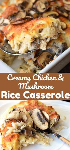 Creamy Chicken Mushroom Rice Casserole. Delicious, creamy, cheesy rice casserole recipe made with lots of mushrooms and chicken. #rice #casserole #chicken #dinner