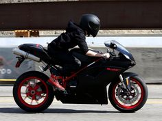 Nice shot of Justin taking his Ducati motorcycle for a spin today in L.A.!