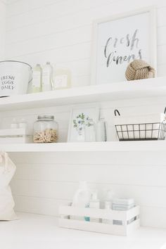 Top 5 Tips to the Perfect Laundry Room by Monika Hibbs: 1. Keep it simple! 2. Find storage specifically for the items you have 3. Add in statement pieces like a great floor or a wallpaper! 4. Consider having some built ins made for some extra storage and a cohesive, all together look 5. Find detergent and cleaning supply bottles that are cute and have great branding, not only for convenience but also for some added style!