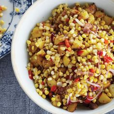 Warm Corn Chowder Salad with Bacon and Cider Vinegar | In this riff on corn chowder, the Beekman boys toss corn, potatoes and bacon with cider vinegar. They grow at least five varieties of sweet corn each summer, and they're always coming up with new ways to use it. Because the corn for this salad is barely cooked, it's best to use the juiciest kernels available.