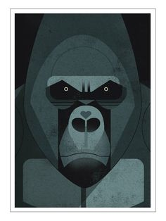 Dieter Braun Mountain Gorilla Postkarte I like the menacing look but in a mountain lion-DRG
