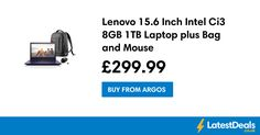 Lenovo 15.6 Inch Intel Ci3 8GB 1TB Laptop plus Bag and Mouse, £299.99 at Argos