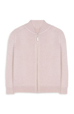 Younger Girl Pink Knit Bomber Jacket