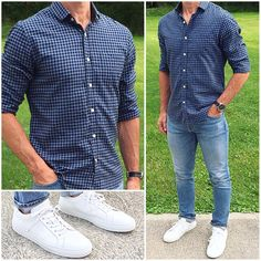 A light flannel shirt, light wash denim, and classic white sneakers make a perfect outfit on a warm fall day❗️ 🍂🔵👟👟 Do you like this… Stylish Men, Men Casual, Casual Outfits For Guys, Mens Casual Sneakers, Mens White Sneakers, Leather Sneakers, Semi Formal Outfits, Dress Casual, Stylish Outfits
