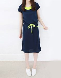 navy blue and yellow drawstring dress