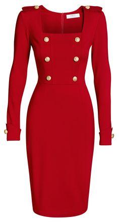 Rotes Strech-Kleid im Military Look  Sie mögen es klassisch, wollen aber dennoch auch ein bisschen auffallen? Unser rotes Candance Dress im Military Stil garantiert Ihnen die volle Aufmerksamkeit. In diesem Kleid wirken Sie elegant und selbstbewusst. Die schweren goldenen Metallknöpfe mit Wappen, die Schulterklappen und der umgeschlagene Saum am Ärmel verleihen dem Kleid einen hochwertigen Military Look.  Das Kleid hat einen schmalen Schnitt. Wählen Sie es eine Nummer größer aus.