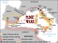 The three Punic Wars between Carthage and Rome took place over nearly a century, beginning in 264 B. and ending with the destruction of Carthage in 146 B. Carthage, Ancient Rome, Ancient History, Roman Empire Map, Punic Wars, Roman Republic, Empire Romain, Roman History, Early Christian