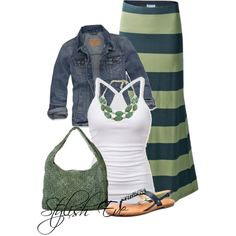 Jean jacket, white tee, maxi - love the green and navy stripes!
