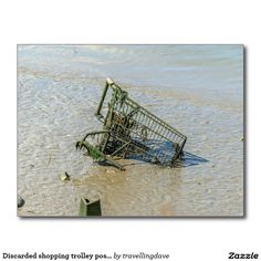 Discarded shopping trolley postcard