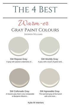 Kylie M Interiors:  Affordable Online Color Consulting Services.  The best warm gray paint colours that are almost greige including Repose Gray, Worldly Gray, Collonade Gray and Agreeable gray. Learn about the undertones, LRV and more. Sherwin Williams.