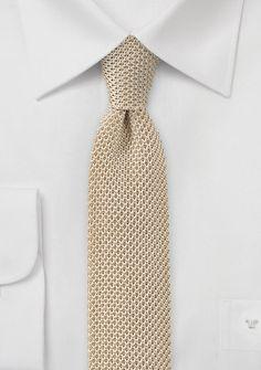 Knitted Skinny Tie in Golden Cream - ties shop - burgundy brown