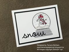 Handmade Cards; Handmade Christmas Cards; Christmas Cards; Sparkly Seasons; Seaonal Frame Thinlits; Stampin' Up; Snow Globes; Tamara's Paper Trail