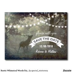 Rustic Whimsical Woods Fairy Lights Stag Save Date Postcard