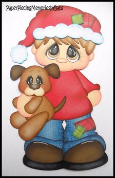 Premade Paper Pieced Christmas Boy for Scrapbook Pages-by Babs