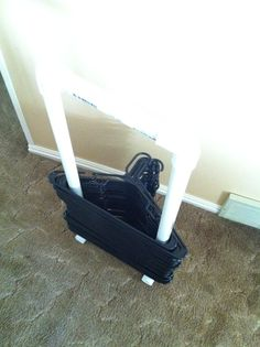 PVC clothes hanger caddy