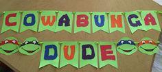 Teenage Mutant Ninja Turtles Birthday Party TMNT DIY Banner Card Stock Paper Ribbon