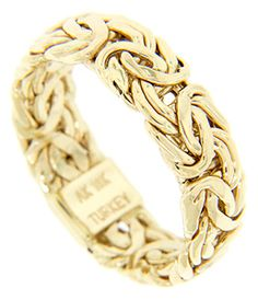 This 18K yellow gold antique style men's wedding band is made of a twisting gold wire design. The wedding ring measures 7.4mm in width. Size: 11. Cannot be resized.