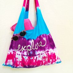 Finished tie-dyed t-shirt tote bag by Jen Goode