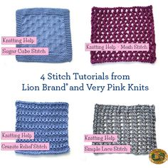 Learn a new stitch with these 4 tutorials from Lion Brand and Very Pink Knits!