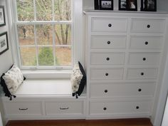 Built-in dresser with window seat