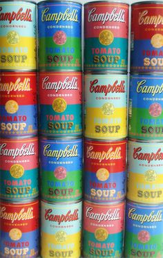"""Target is now carrying limited edition Andy Warhol-themed cans of tomato soup! """"The cans are designed in celebration of the famous pop artist's original works featuring Campbell's soup cans."""" via-Such Pretty Things Rainbow Colors, Vibrant Colors, Campbell's Soup Cans, Pop Art, Jolie Photo, World Of Color, Everyday Objects, Andy Warhol, Color Inspiration"""