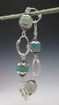 Silver and aqua bracelet