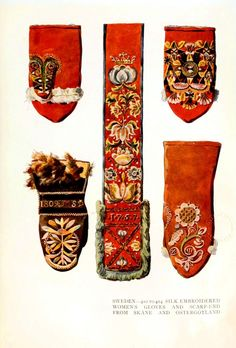 Traditional Scandanavian textile design. Sweden. Silk embroidered women's gloves and scarf=end from Skane and Ostergotland. Scans of 2 d images in the public domain believed to be free to use without restriction in the US.
