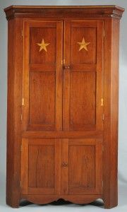 Lot 291: E. TN Cherry Corner Cupboard with Tassel Inlay