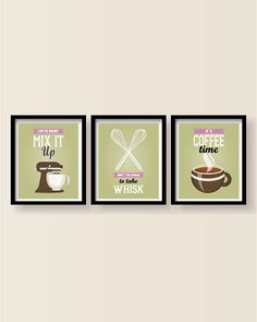 Kitchen decor - Kitchen wall art - Kitchen prints - Kitchen art - Kitchen art set - Kitchen poster - Mix It Up, Whisk, Coffee Time print set by BlackPelican