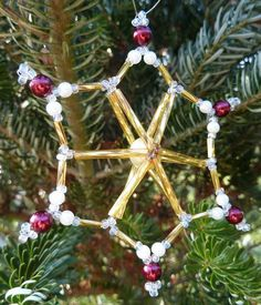 Christmas snowflake Christmas Snowflakes, Christmas Ornaments, Beadwork, Holiday Decor, Pearls, Pearl Embroidery, Christmas Ornament, Christmas Topiary, Christmas Decorations