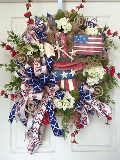 Country Patriotic 4th of July Red, White, and Blue Summer Mesh Burlap Wreath by WilliamsFloral on Etsy https://www.etsy.com/listing/235061908/country-patriotic-4th-of-july-red-white