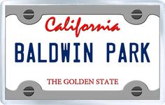 $3.29 - Acrylic Fridge Magnet: United States. License Plate of Baldwin Park California