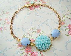 Chic Pastel Blue Garden Jewel Bracelet by by Alyssabeths on Etsy, $23.00