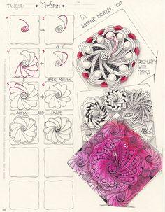 """MySpin ist mein neuestes Muster vom 01.09.2017. Es beginnt mit einer Spirale, wie Printemps und bekommt ringsum schwungvolle """"Blütenblätter"""", die nach Lust und Laune variiert werden können. Das Stepout und Beispiele von MySpin sind auch auf meinem Blog zu finden"""