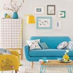 Living room with yellow and blue accents - love the bright zesty colours
