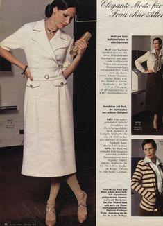 1976 White Dress 70s Fashion, Fashion History, Vintage Fashion, Russian Fashion, Fashion Outfits, Vintage Style, Burda Patterns, Vintage Sewing Patterns, Cute Dresses
