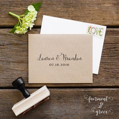 PERSONALIZED WEDDING STAMP    Customized Wedding Rubber Stamp with Bride & Grooms Names and Wedding Date    Beautiful personalized wedding