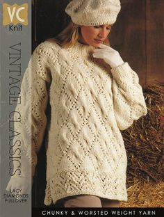VINTAGE 80s KNIT   Lacy Diamonds Irish Cream Tunic   PDF Instant Upload Pattern A SCANNED, REFORMATTED and ENHANCED COPY of a Vintage Aran/Fisherman Style Tunic, part of a very popular Irish Cream Aran pattern collection designed in the late 80s. Luscious, cream Aran knitting at its
