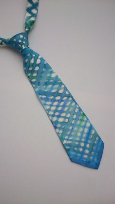 Blue and Green Haze Grid Hand Painted Silk Necktie. Painted Designer Tie.  Blue and White Checkered Tie.